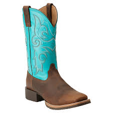 womens boots boot barn ariat 10014162 distressed brown solid turquoise http