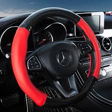 rivestimento volante in pelle styling auto in fibra di carbonio copertura volante in pelle 4