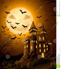 spooky halloween night with haunted castle royalty free stock