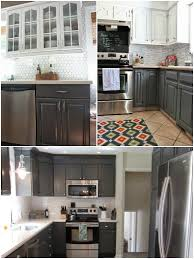 Gray Painted Kitchen Cabinets by Remodelaholic Dark Gray Painted Fireplace Focal Wall