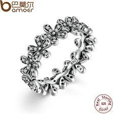 silver flowers bamoer 925 sterling silver flowers finger rings dazzling
