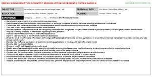 Scientist Resume Examples by Bioinformatics Scientist Resume Sample