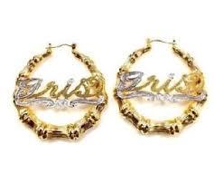 name hoop earrings 14k gold overlay personalized name bamboo hoop earrings 1 1 2