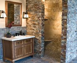 bathroom unfinished wood rustic bathroom vanities with stone wall