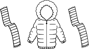 jacket for winter and scarf two color coloring page wecoloringpage