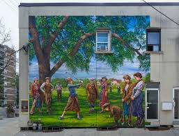 public works john kuna murals the style of the work reference canadian landscape painting traditions in the 1950 s