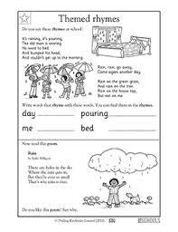 kindergarten reading worksheets poems raining rhymes greatschools