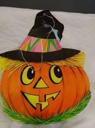 vintage 60s halloween die cut large witch jack o lantern 16