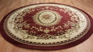 Circular Area Rugs Aubusson Traditional Medallion Burgundy Circular
