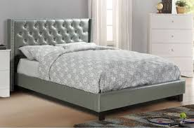 Silver Queen Bed Poundex F9373q Poundex F9373q Silver Faux Leather Button Tufting