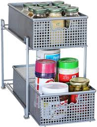 decobros two tier mesh sliding cabinet basket organizer drawer