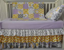 Grey And Yellow Crib Bedding Suzani Crib Bedding Etsy
