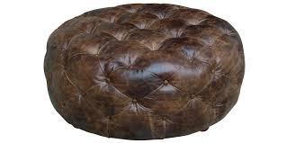 round leather tufted ottoman furniture round dark bown leather tufted ottoman for transitional