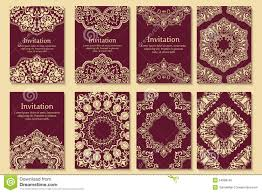 henna invitation set of invitations cards with ethnic henna stock vector image