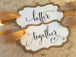 Bride And Groom Chair Signs Set Of 2 Better Together Chair Signs Antique Gold Shimmer Bride