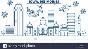 usa iowa des moines winter city skyline merry and