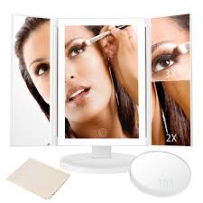 assis led lighted makeup mirror tri fold adjustable led lighted touch screen make up mirror with 8