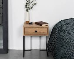 Black Wood Nightstand Wood Nightstand Etsy
