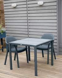 Glass Top Patio Dining Table Jessamine Rectangular Outdoor Dining Table With Glass Top