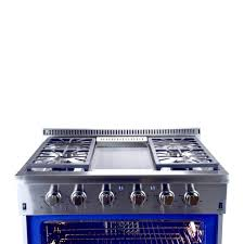 hallman 36 in 5 2 cu ft professional convection gas range with