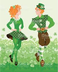 st patricks day cartoon of people dancing to celebrate stock