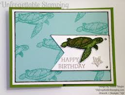 fabulous sea turtle masculine birthday card unfrogettable stamping