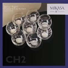 amazon com mikasa set of 8 encore votive holders white home