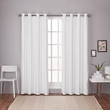 Winter Window Curtains Winter White Textured Linen Thermal Grommet Top Window