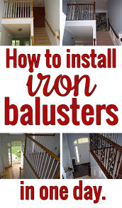 How To Refinish A Wood Banister Install Iron Balusters To Glam Up Your Staircase Surprisingly