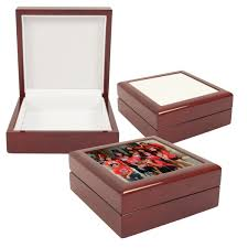 personalized wooden jewelry box personalized sublimation blank tile lid unfinished wooden