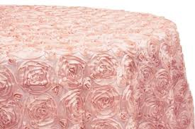 pink rosette table runner table cloth 120 blush satin rosette round linens and events