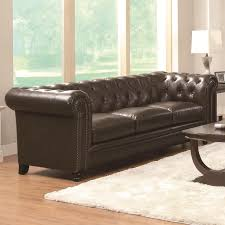 Coaster Leather Sofa Coaster Roy Collection Traditional Button Tufted Leather Sofa In