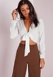 tie front blouse lyst missguided tie front cropped blouse white in white
