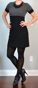 black sweater boots post grey color block sweater dress black ankle boots