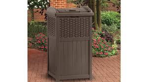 Tall Trash Can by Suncast Resin Wicker Trash Hideaway Ghw1732 Youtube