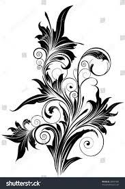 ornamental flowerdetailed floral design ornaments black stock