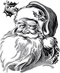 vintage santa claus clipart black and white