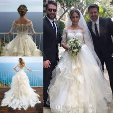 white cascading ruffles wedding dresses a line 2017 lace off