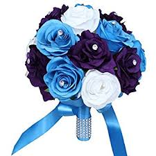 teal roses wedding bouquet 9inch turquoise malibu purple and