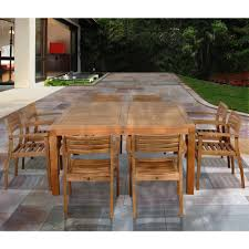 Indoor Teak Furniture Amazonia Victoria Square 9 Piece Teak Patio Dining Set