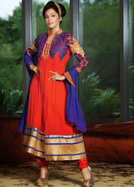 beautiful color combination anarkali dress with lace 9