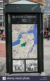 Boston Downtown Map by A Map Of Downtown Boston On A Kiosk At Boston Common Stock Photo