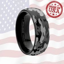camo mens wedding bands 6mm 8mm domed camo black tungsten wedding band