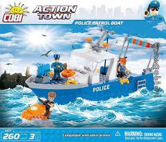 police patrol boat action town for kids wiek cobi toys