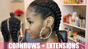 French Braid Hairstyles With Weave Two Cornrows On Natural Hair Extensions Youtube