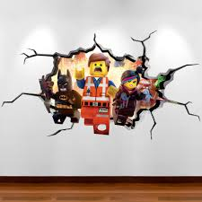 lego movie emmet full colour 3d wall art sticker boys bedroom