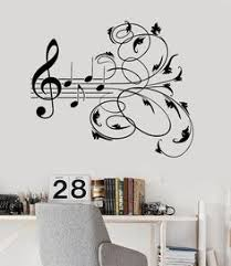 Wall Stickers For Bedrooms Interior Design Blowing Music Notes Vinyl Wall Decal Sticker Art Decor