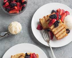 grilled browned butter pound cake with berries bake from scratch