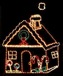 outdoor lighted gingerbread house