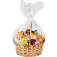amazon com large cellophane basket bag clear home u0026 kitchen